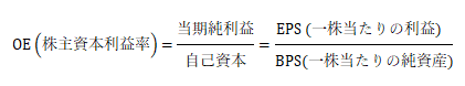 ROE(株主資本利益率)=当期純利益/自己資本=〖EPS (一株当たりの利益)〗^ /(BPS(一株当たりの純資産))