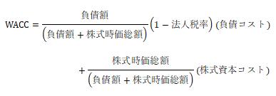 WACC=負債額/((負債額+株式時価総額) ) (1-法人税率)(負債コスト)+株式時価総額/((負債額+株式時価総額) )(株式資本コスト)