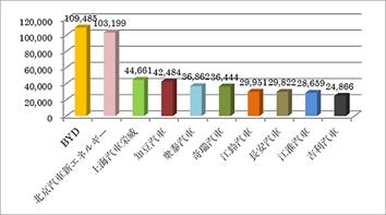 図3  2017年中国市場新エネルギー車販売上位メーカー (出所:第一電動汽車網)