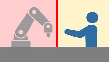 a.柵を設置しないが協働ロボットと人間が働く領域は分けられている
